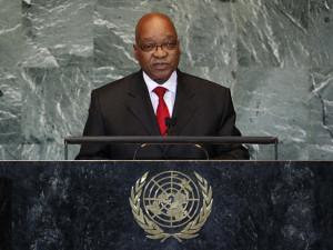 Republic of South Africa President Jacob Zuma addressing the United Nations General Assembly meeting in New York on September 21, 2011. Zuma said that the African Union efforts to end the war in Libya were ignored. by Pan-African News Wire File Photos