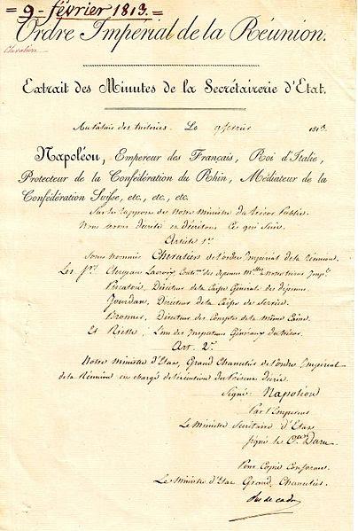 Archivo: Institución de la Orden de la Reunión (1811) Jpg.