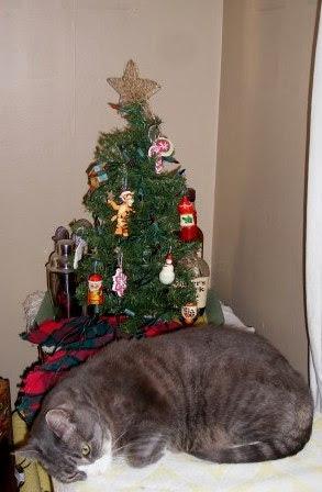 LB Naps Under the Christmas Tree