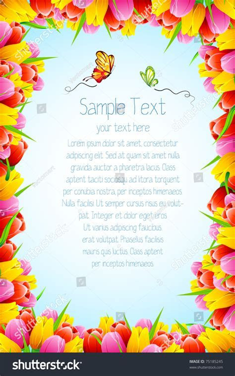 Illustration Abstract Background Tulip Flower Border Stock