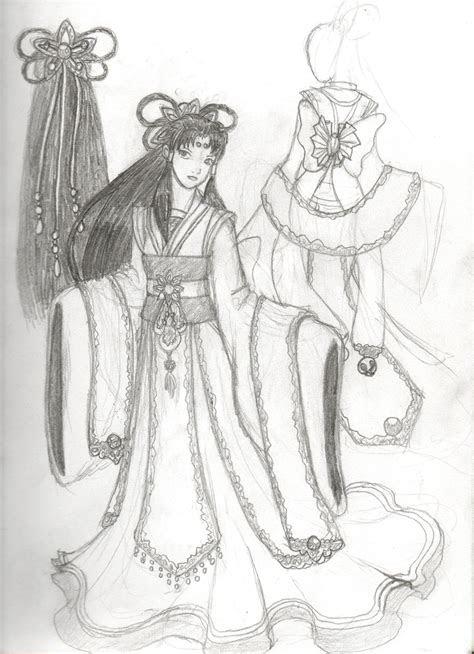 dresses drawings random asian style dress  designed