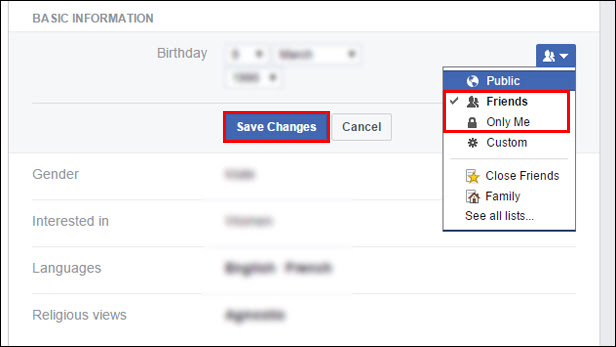 Hide your date of birth on Facebook