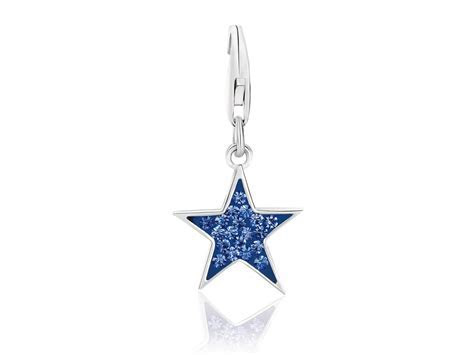 Star Blue Tone Crystal Encrusted Charm in Sterling Silver
