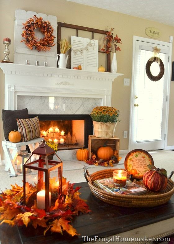 The Frugal Homemaker: 31 Days of Fall Inspiration - Fall mantel