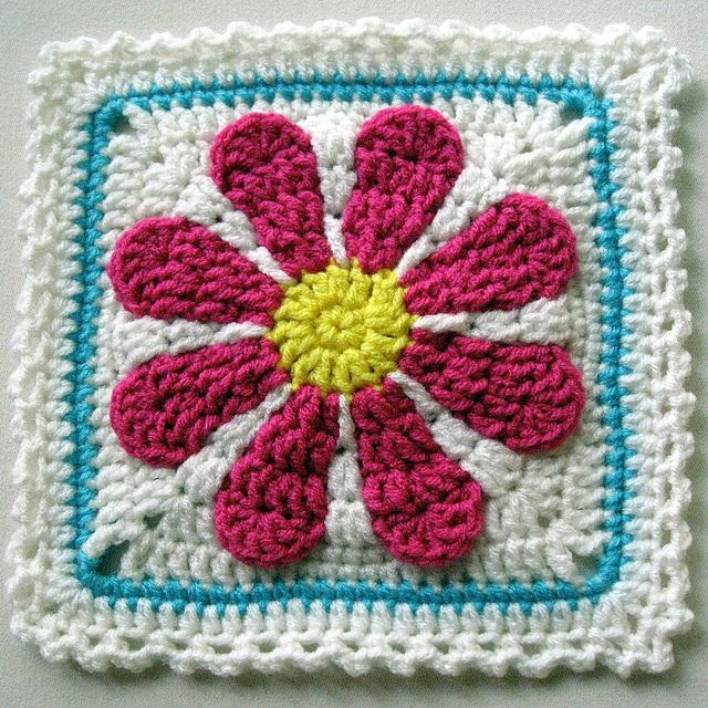 Gerber Daisy crochet afghan square  FREE Pattern