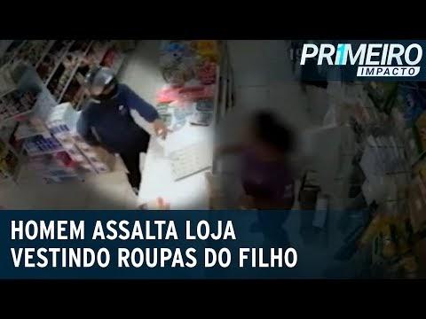 Homem usa roupas do filho para roubar e esfaquear dono de loja