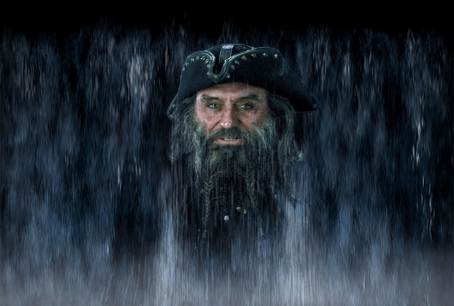 Rendering of Ian McShane as Captain Blackbeard in the Pirates of the Caribbean Attractions at Disney Parks