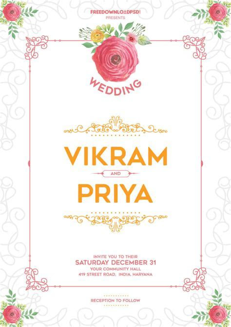 Wedding invitation template download   FreedownloadPSD.com