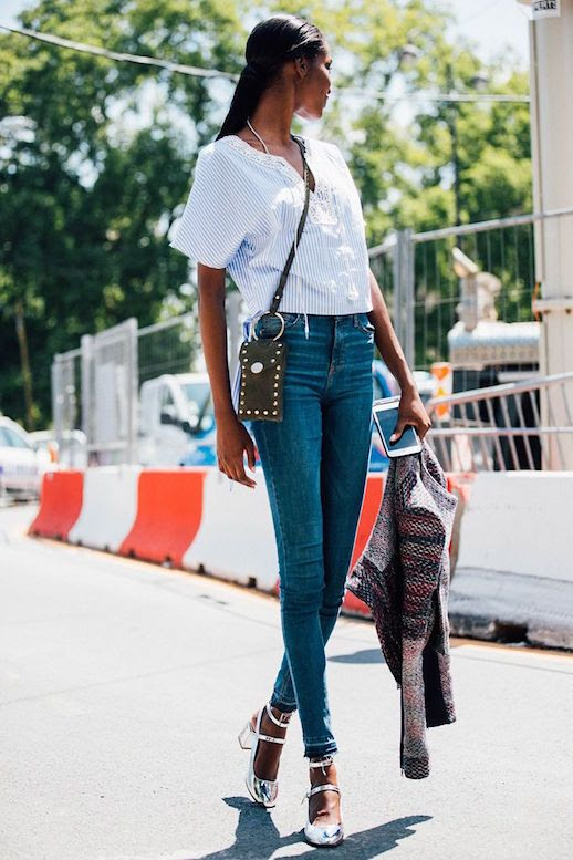 Le Fashion Blog Striped Lace Up Shirt Blue Skinny Jeans Crossbody Bag Metallic Silver Mary Janes Via Vogue Uk