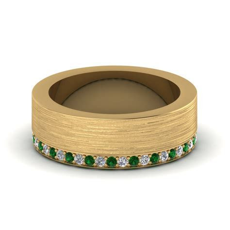14K Yellow Gold Green Emerald Men's Wedding Band