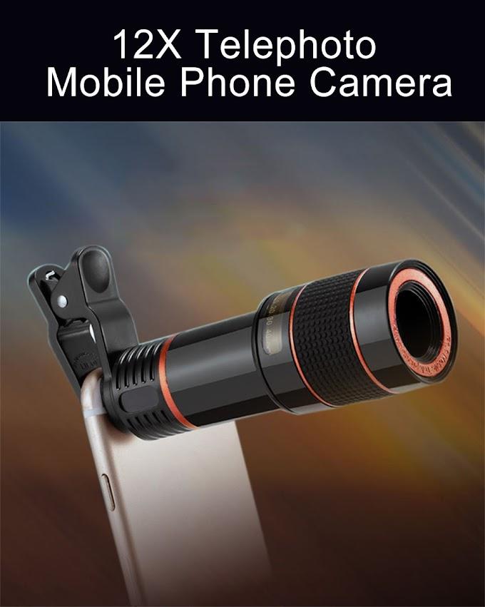 12X Telephoto Lens Clip Optical Zoom Monocular Telescope Phone Camera Adjustable With Universal