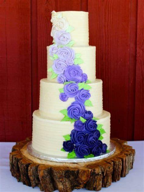 purple buttercream rosette wedding cake   Wedding Cakes