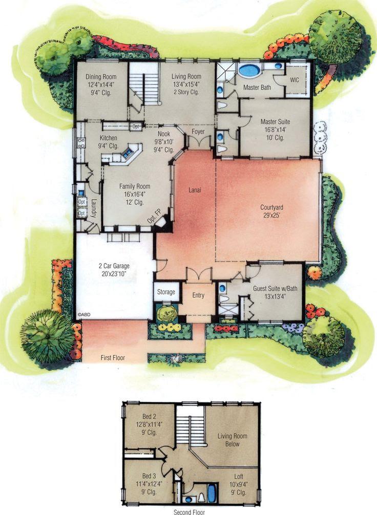 four bedroom courtyard house plan Floorplans Pinterest