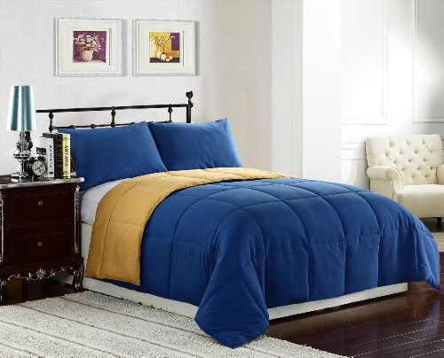 width of queen size bed 3 pieces reversible goose down alternative comforter set with anti. Black Bedroom Furniture Sets. Home Design Ideas