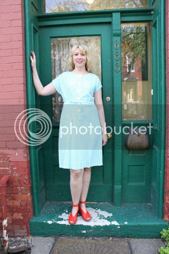 vintage etsy plus size 50s dress blue aqua