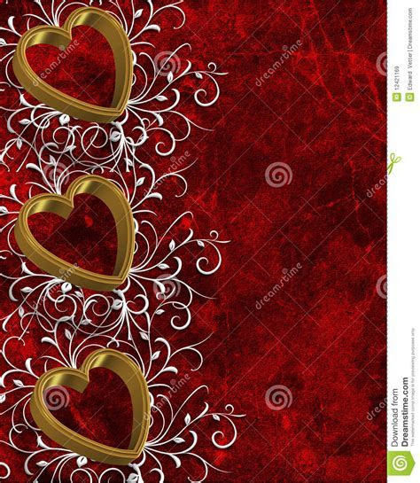 Valentines Day Border Gold Hearts Royalty Free Stock