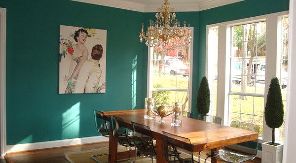 Teal dining room - Decoist