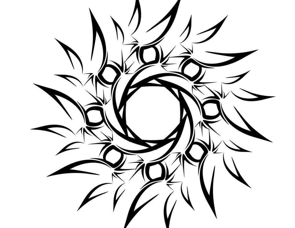 c03e37923 sun tattoo designs, Tribal Flower or Sun Tattoo by