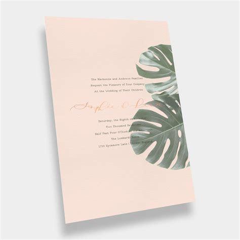 Tropical   Modern Palm Leaf Wedding Invitation / Peach