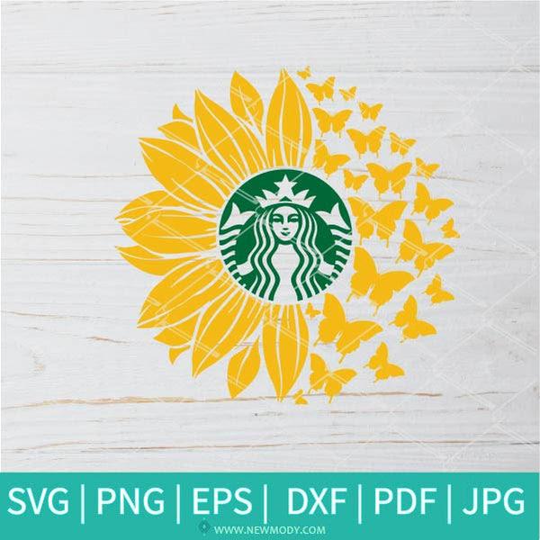 Download Sunflower Butterflies Strabucks SVG - Sunflower SVG ...