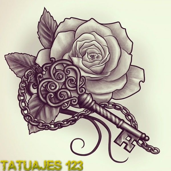Llave Y Rosa Tatuajes 123