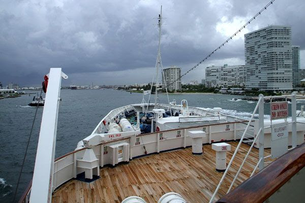 Tropical Storm Fay looms as the Regal Empress returns to Fort Lauderdale in Florida after a one-day cruise from the Bahamas...on August 18, 2008.