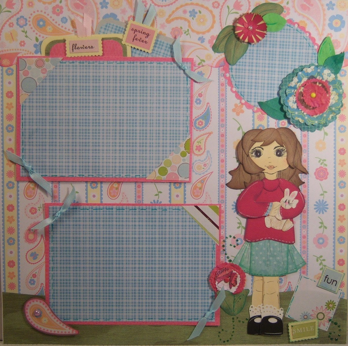 Sweet Girl holding a Bunny Paper Pieced Double Page Layout for Spring or Easter too