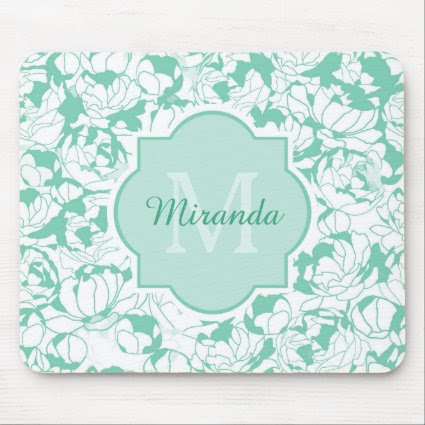 Modern Mint Green Floral Girly Monogram With Name Mouse Pads