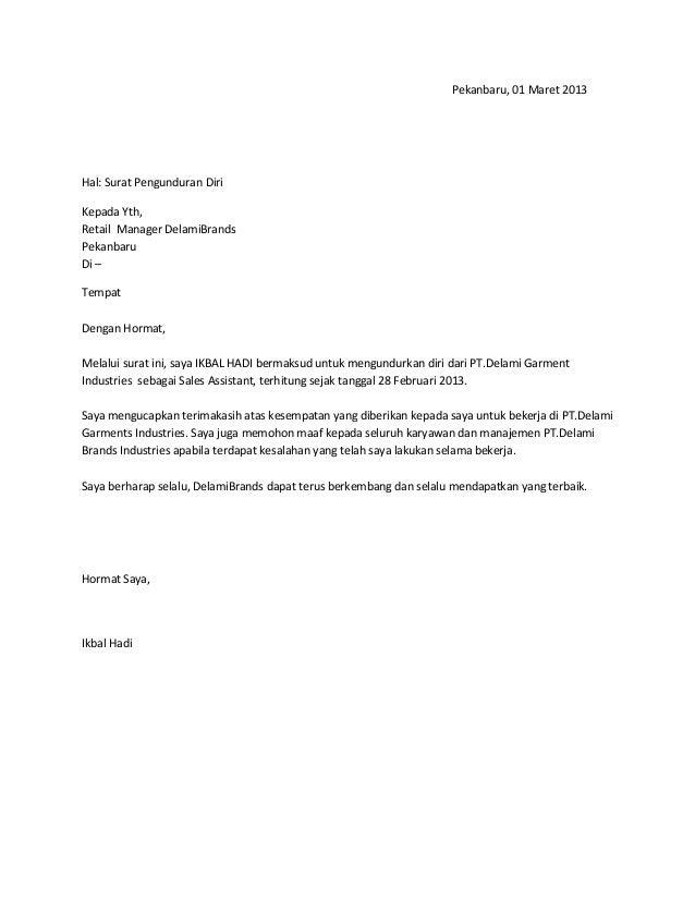Contoh Surat Pengunduran Diri Untuk Perawat Contoh O