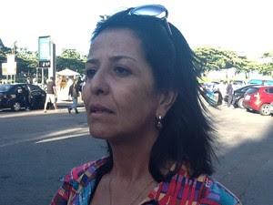 Professora Erizete disse que viu o helicóptero cair (Foto: Isabela Marinho/G1)