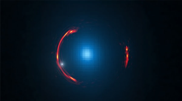 The large blue light is a lensing galaxy in the foreground, called SDP81, and the red arcs are the distorted image of a more distant galaxy. By analyzing small distortions in the red, distant galaxy, astronomers have determined that a dwarf dark galaxy, represented by the white dot in the lower left, is companion to SDP81. The image is a composite from ALMA and the Hubble. Image: Y. Hezaveh, Stanford Univ./ALMA (NRAO/ESO/NAOJ)/NASA/ESA Hubble Space Telescope
