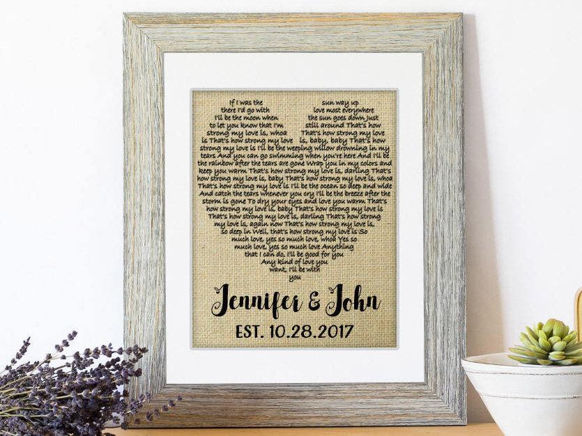Wedding Gift One Year Anniversary Gift First Dance Love Song Lyrics Personalized Wedding 1st Anniversary Gifts Wedding Decor Lyrics 2769415 Weddbook