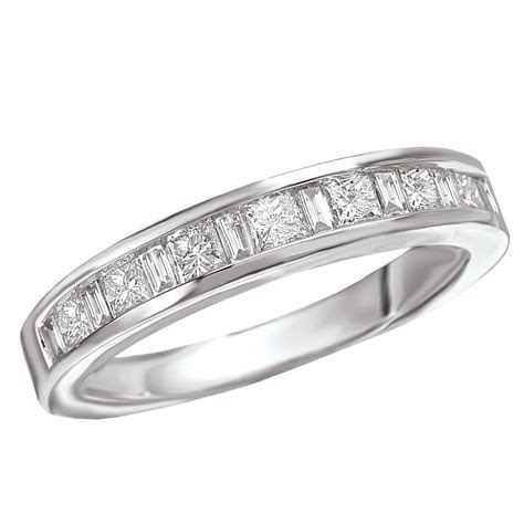 White Gold Princess Cut & Baguette Diamond Band