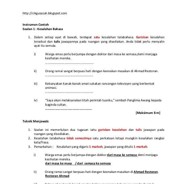 Contoh Soalan Tatabahasa Bahasa Melayu Pt3 Soalan Bz