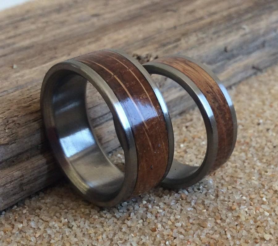Wedding Rings Charred Oak Whiskey Barrel Inlay Ring Wood Ring