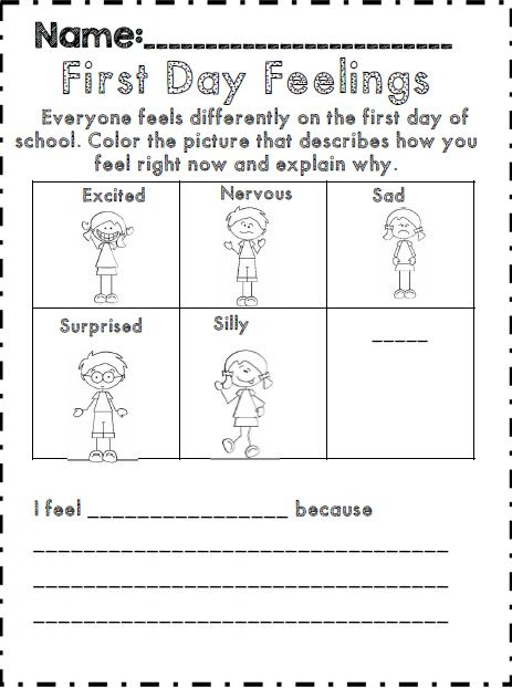 First day of school feelings activity for upper elementary part of 40 ...