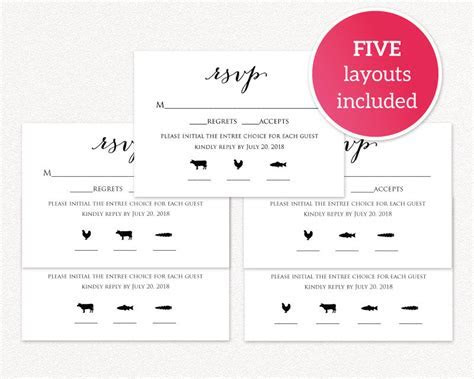 RSVP Card With Meal Icons Templates · Wedding Templates