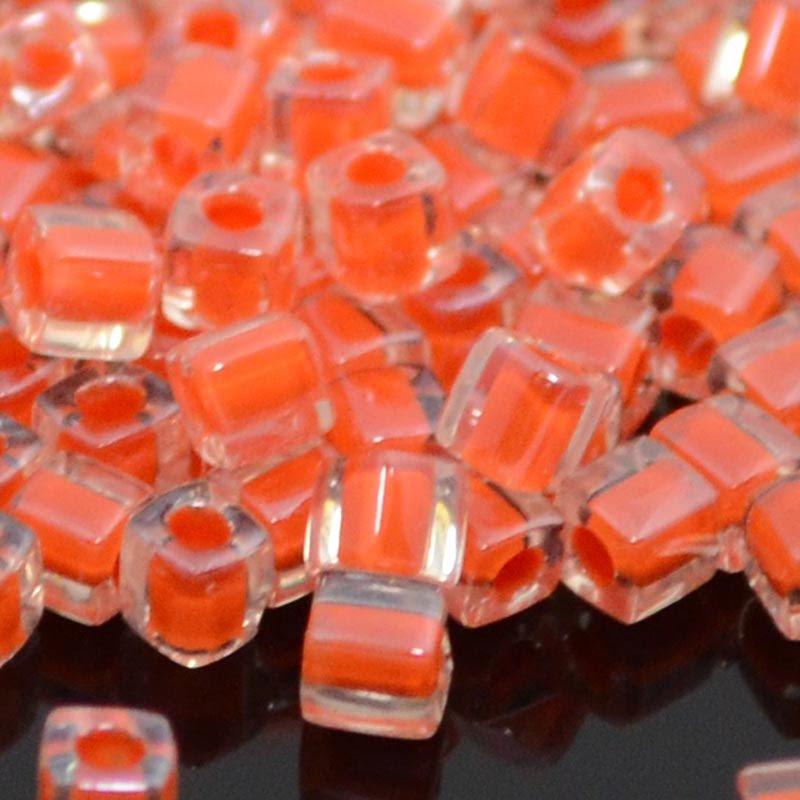 sb3-0236 Miyuki - 3 mm Japanese Cubes - Colour Lined Crystal/Flame Orange