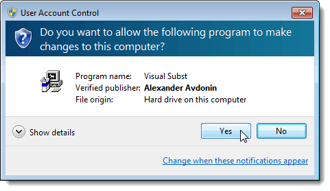 User Account Control dialog box