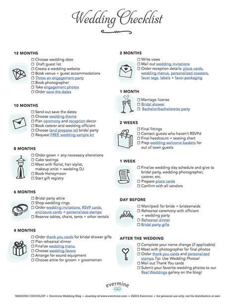 FREE Printable Wedding Checklist   Evermine Weddings