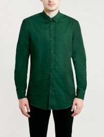 Topman Washed Green Twill Long Sleeve Shirt