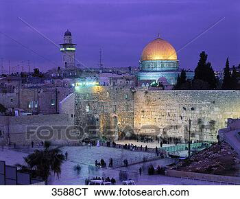 Stock Photo - israel, jerusalem,  wailing wall at  dusk. fotosearch  - search stock  photos, pictures,  images, and photo  clipart