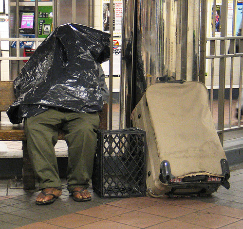 Homeless in the subway station