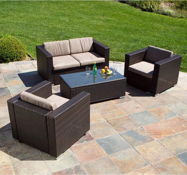 Westlake Brown Wicker 4pc Outdoor Sofa Set - Modern ...