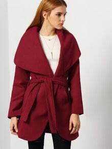 Burgundy Long Sleeve Pockets Coat