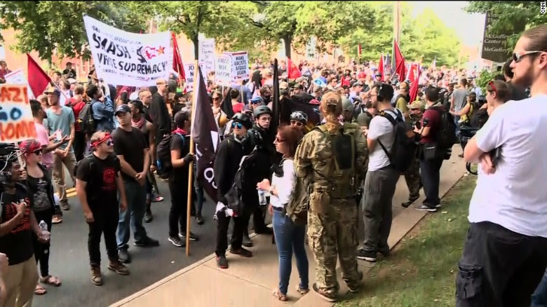 """Counter-protesters gather Saturday morning in Charlottesville, Virginia, ahead of a """"Unite the Right"""" rally."""