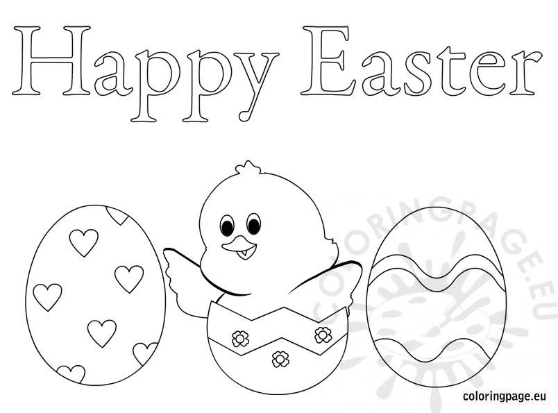 Happy Easter eggs - Coloring Page