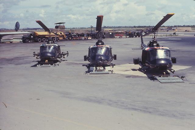 Saigon 1964 - Tan Son Nhut - helicopters with armament