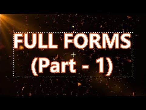 Short Form to Full Form (Part-01)
