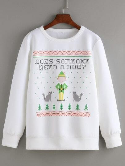 White Round Neck Christmas Print Sweatshirt pictures